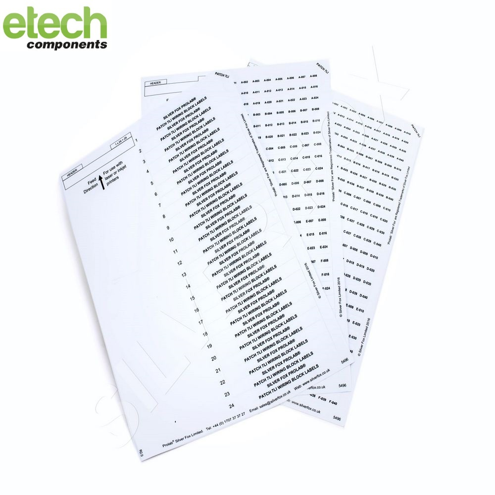 Prolab Patch Panel Laser Labels Sheets 2