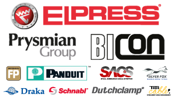 Etech Wholesaler Catalogue Logos - Elpress, Prysmian Group, BICON, Prysmian FP, Panduit, SACS Tool, Silver Fox, Draka, Schnabl, Dutchclamp, Tidi Cable