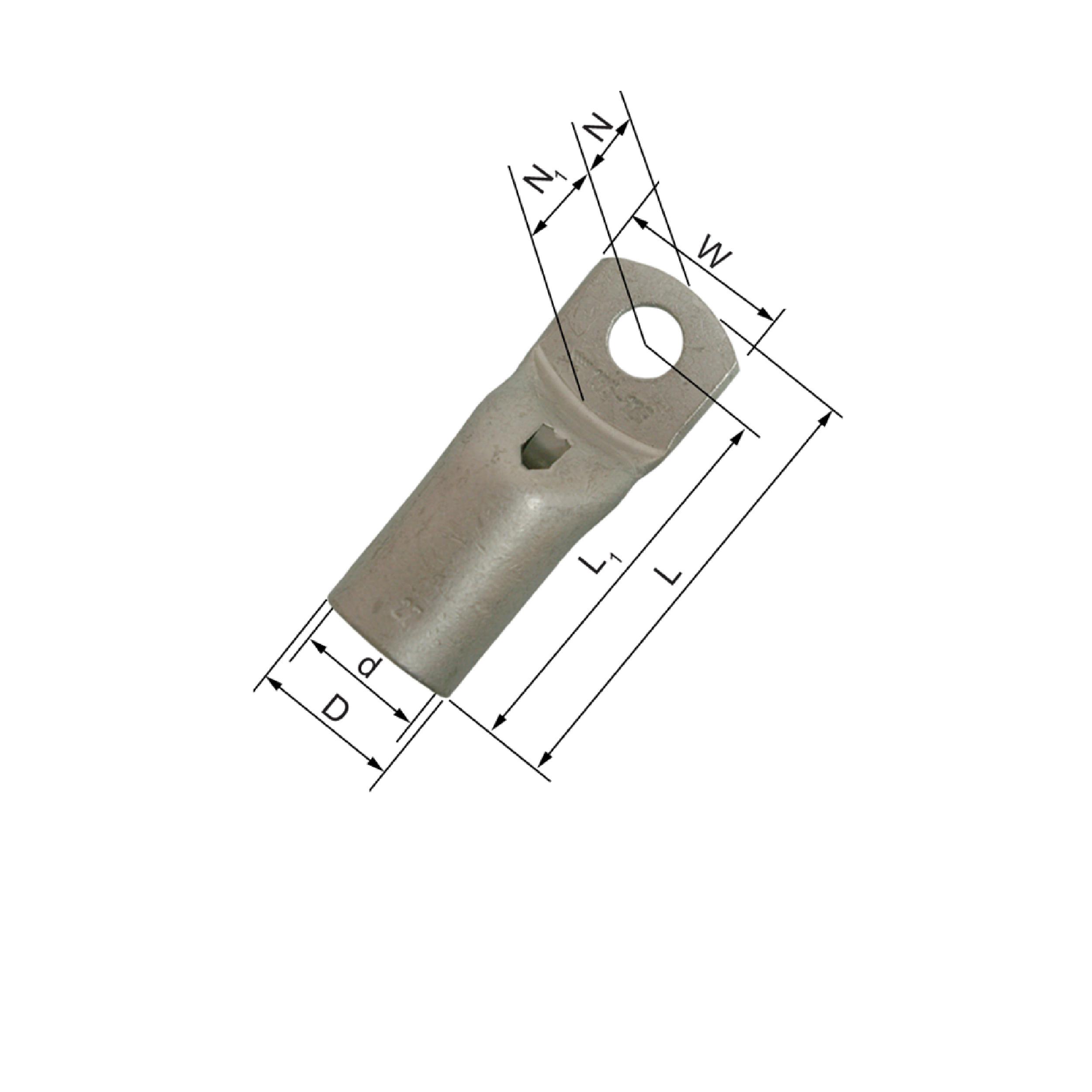 Elpress KRFN Narrow Palm Copper Cable Lugs (50-240mm²) - KRFN120-10, KRFN120-12, KRFN185-10