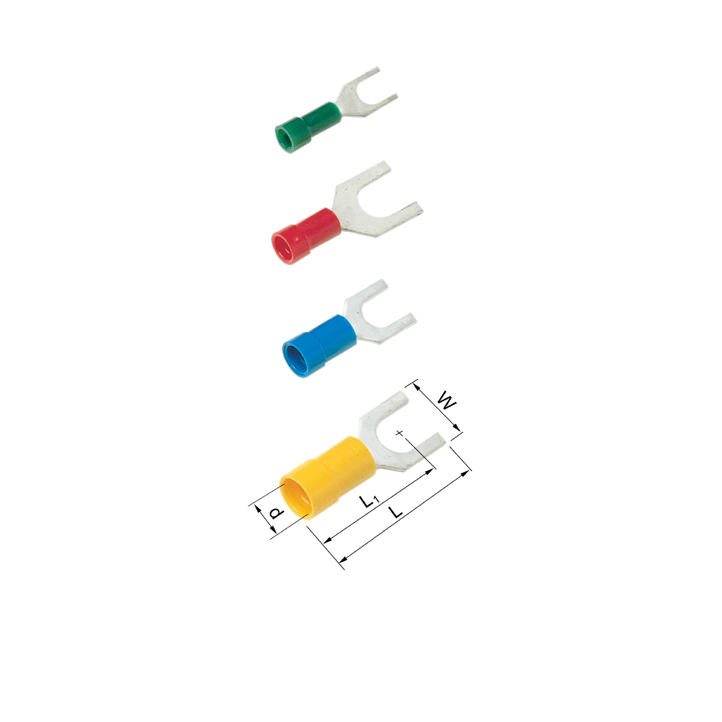Elpress Pre-Insulated Fork Terminals - Halogen Free (0.1-6mm²) A1537G, A1565G, A2553G, A4665G, A4610G.