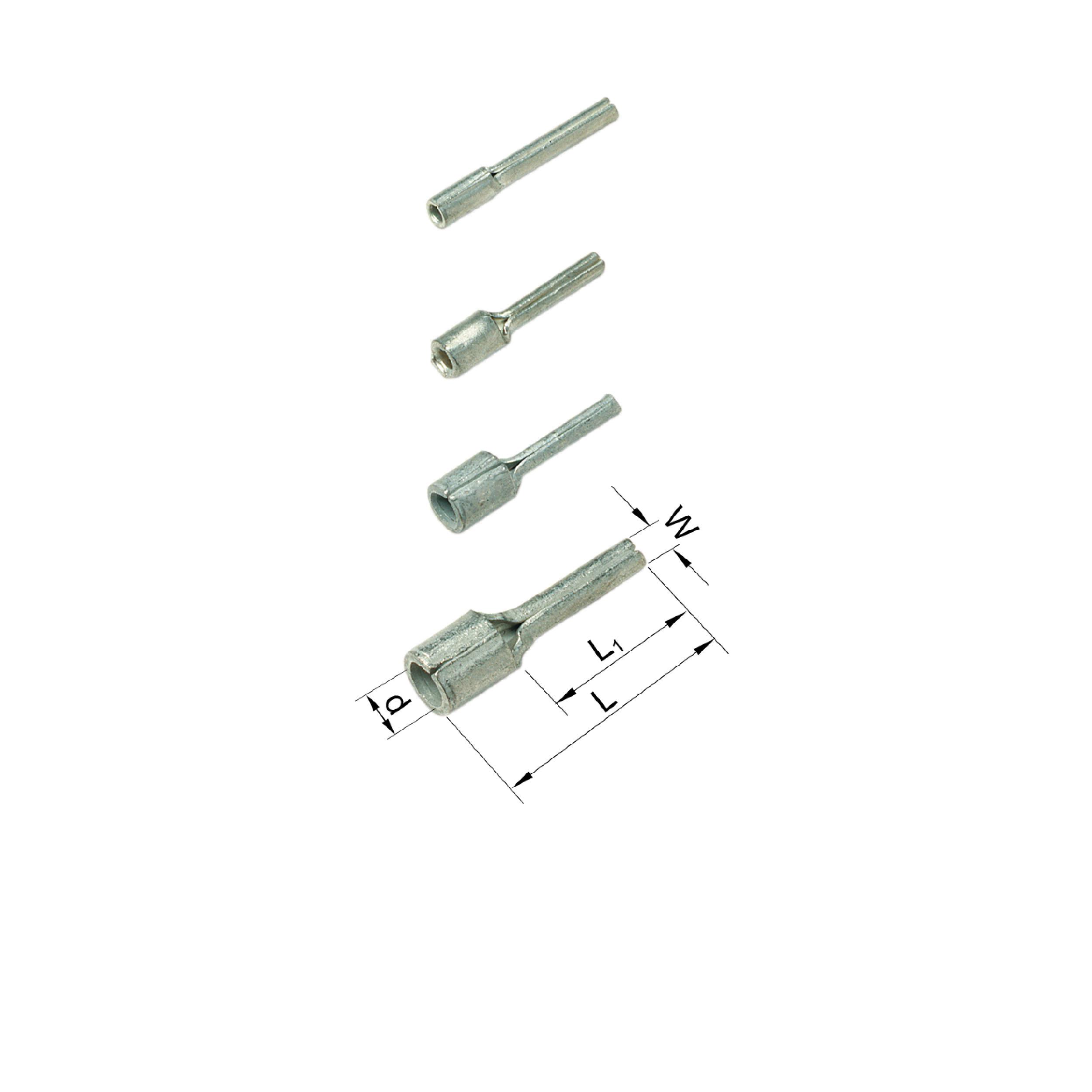 Elpress Un-Insulated Pin Terminals (0.25-6mm²). Part Numbers: B0819SR, B1519SR, B2519SR, B4630SR