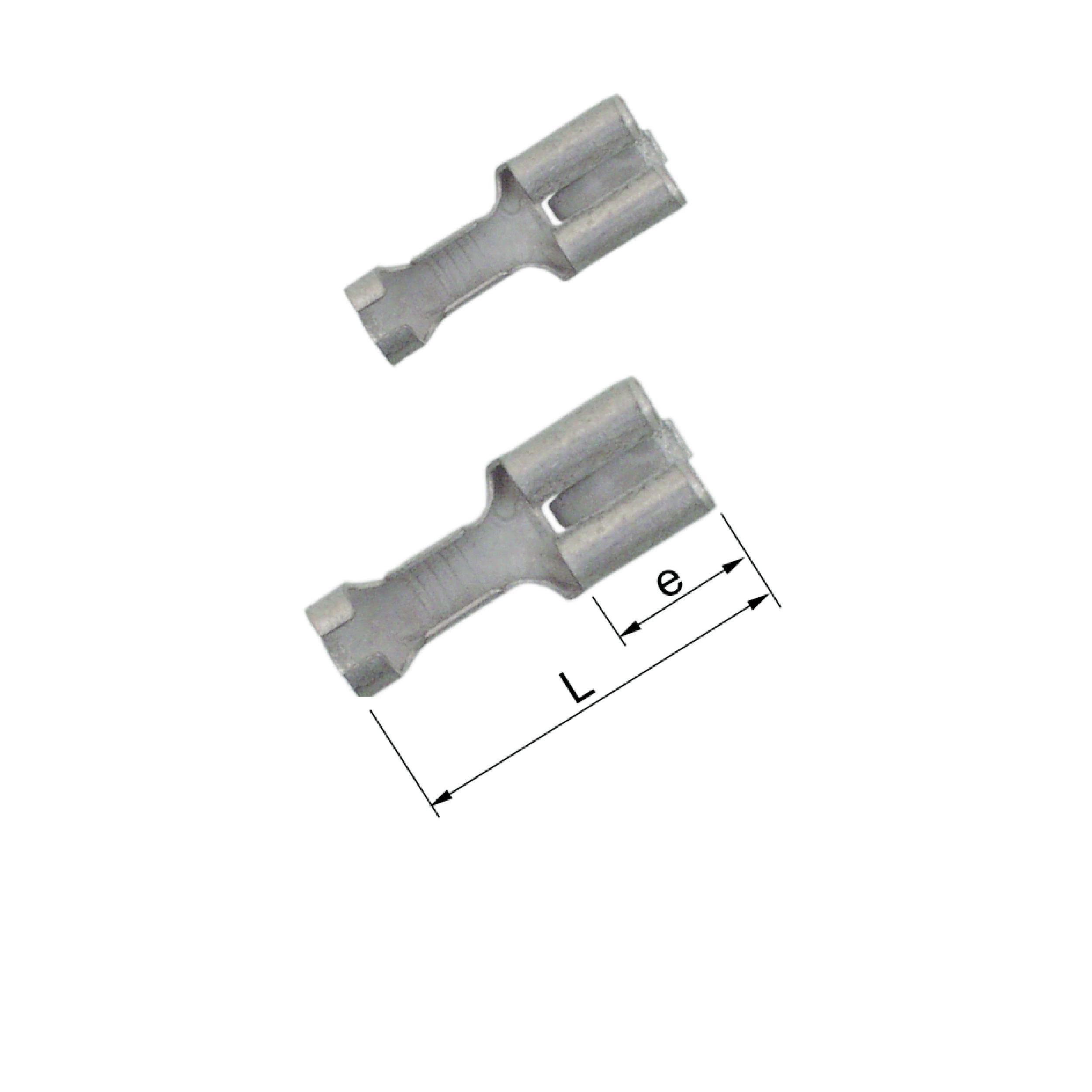 Elpress Un-Insulated Receptacles with locking lip (Range 0.5-6mm²). Part Numbers: B1507FLSN, B2507FLSN, B4607FLSN