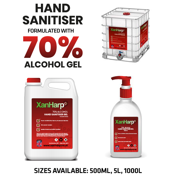 1000L, 5L, 500ML XanHarp Hand Sanitiser Gel with 70% Alcohol