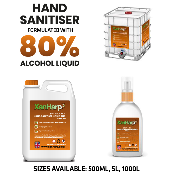 1000L, 5L, 500ML XanHarp Hand Sanitiser Gel with 80% Alcohol