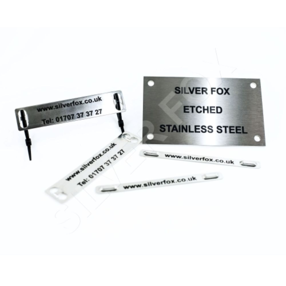 Silver Fox Endurance Stainless Steel Engraved Labels