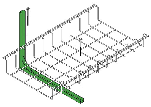 Snake Tray Mega Snake 801 Series - Accessories: Under Tray Pathway System, Cable Tray Brackets, Drop-outs, Mega Snake Air Separators