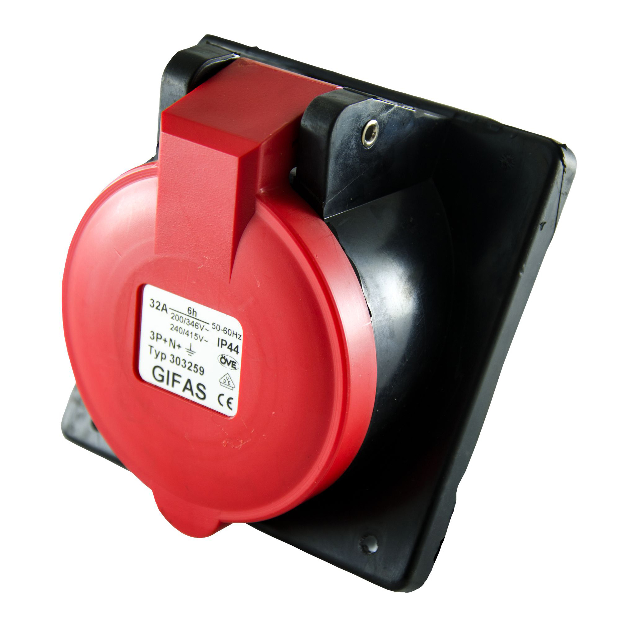 GIFAS Solid Rubber CEE Built-in Socket 32A 400V 5-pole (102095)