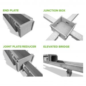 TTS Rail Green Trough Accessories (End Plates, Jointing Plates/ Reducer, Junction Box, Elevated Bridge)